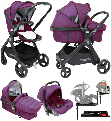 iSafe 3 in 1 Mode Marvel Travel System and Carseat - Marrone + Isofix Base