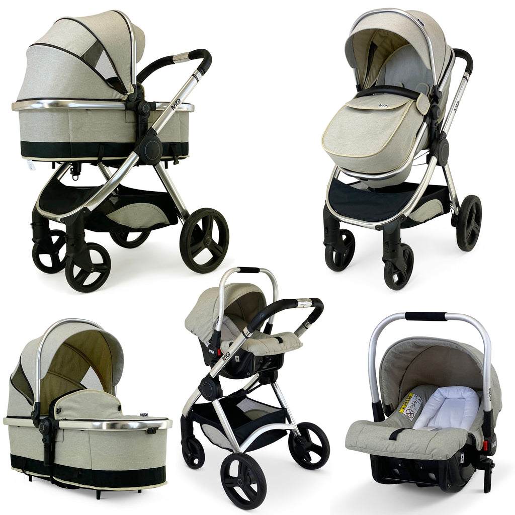 iSafe Mio Baby Pram System 3 in 1 Complete With Carseat - Black