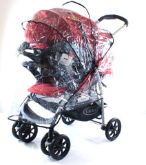 Rain Cover To Fit Graco Mirage Plus Travel System (Black ZigZag) - Baby Travel UK  - 2