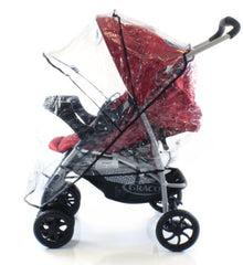 Rain Cover To Fit OBaby Monty Travel System (Black/Red) - Baby Travel UK  - 2