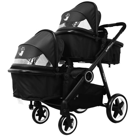 SALE!!! iSafe Tandem Pram me & you - Black (Black) Complete With Car Seat