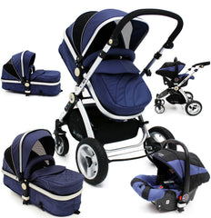 iSafe 3 in 1  Pram System - Navy (Dark Blue) Travel System + Carseat - Baby Travel UK  - 1
