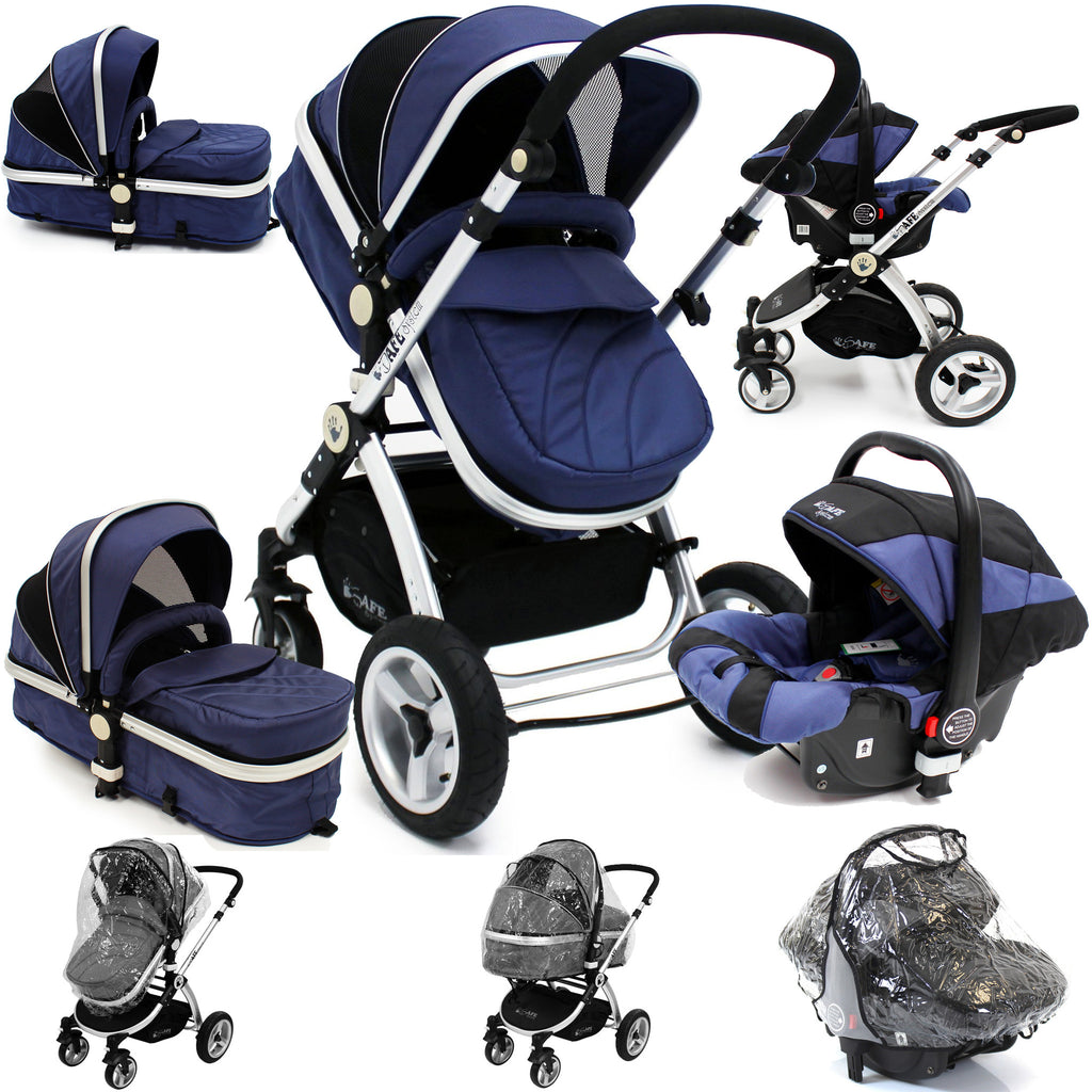 iSafe 3 in 1  Pram Travel System - Navy (Dark Blue) With Carseat & Raincover - Baby Travel UK  - 1