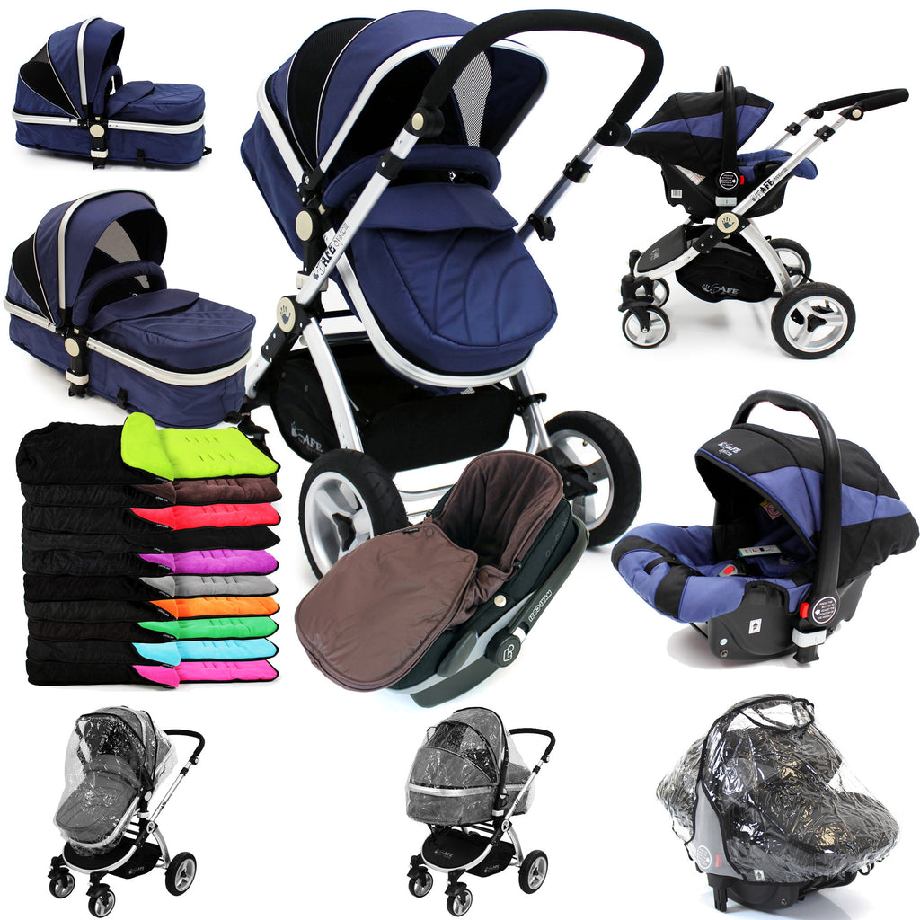 iSafe 3 in 1  Pram System - Navy (Dark Blue) + Carseat + Footmuff & Raincover Package - Baby Travel UK  - 1