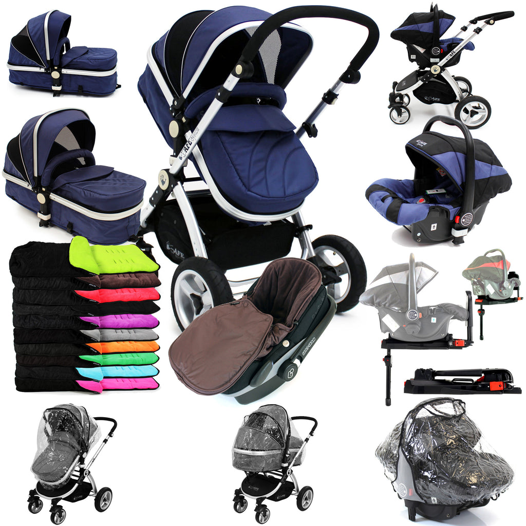 iSafe 3 in 1  Pram System - Navy (Dark Blue) + Carseat + Isofix Base + Footmuff & Raincover Package - Baby Travel UK  - 1