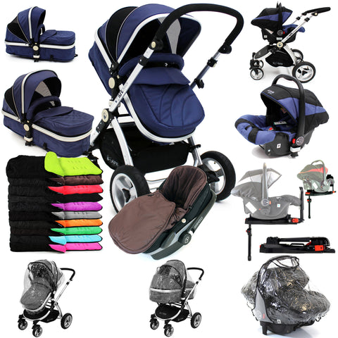 iSafe 3 in 1  Pram System - Navy (Dark Blue) + Carseat + Isofix Base + Footmuff & Raincover Package