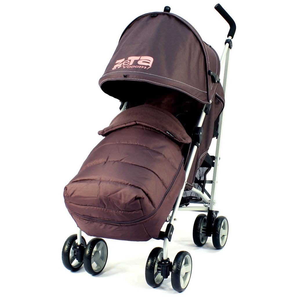 New Zeta Vooom Hot Chocolate + Mc Large Padded Footmuff Liner Stroller Pushchair - Baby Travel UK  - 1