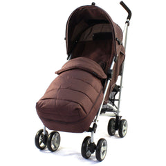 New Zeta Vooom Hot Chocolate + Mc Large Padded Footmuff Liner Stroller Pushchair - Baby Travel UK  - 2