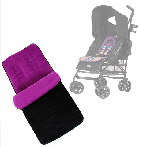 Buddy Jet Foot Muff Plum Suitable For OBaby Atlas Lite Travel System (Purple Stripes)