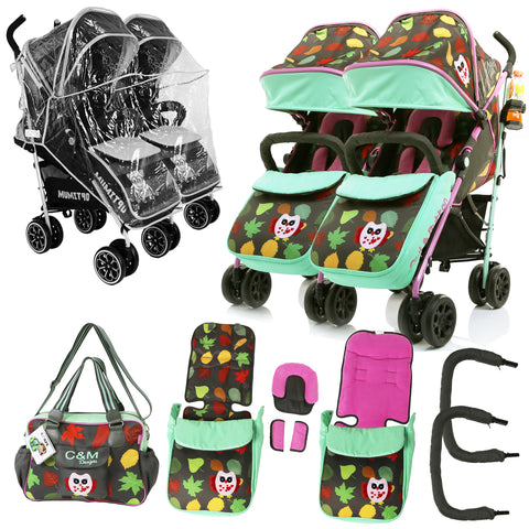 Double Twin Baby Stroller Optimum Owl And Button With Changing Bag