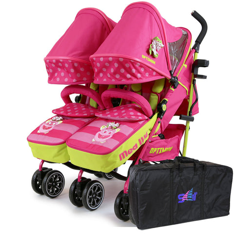 iSafe Double Twins Stroller Buggy Mea Lux With Luggage Travel Bag