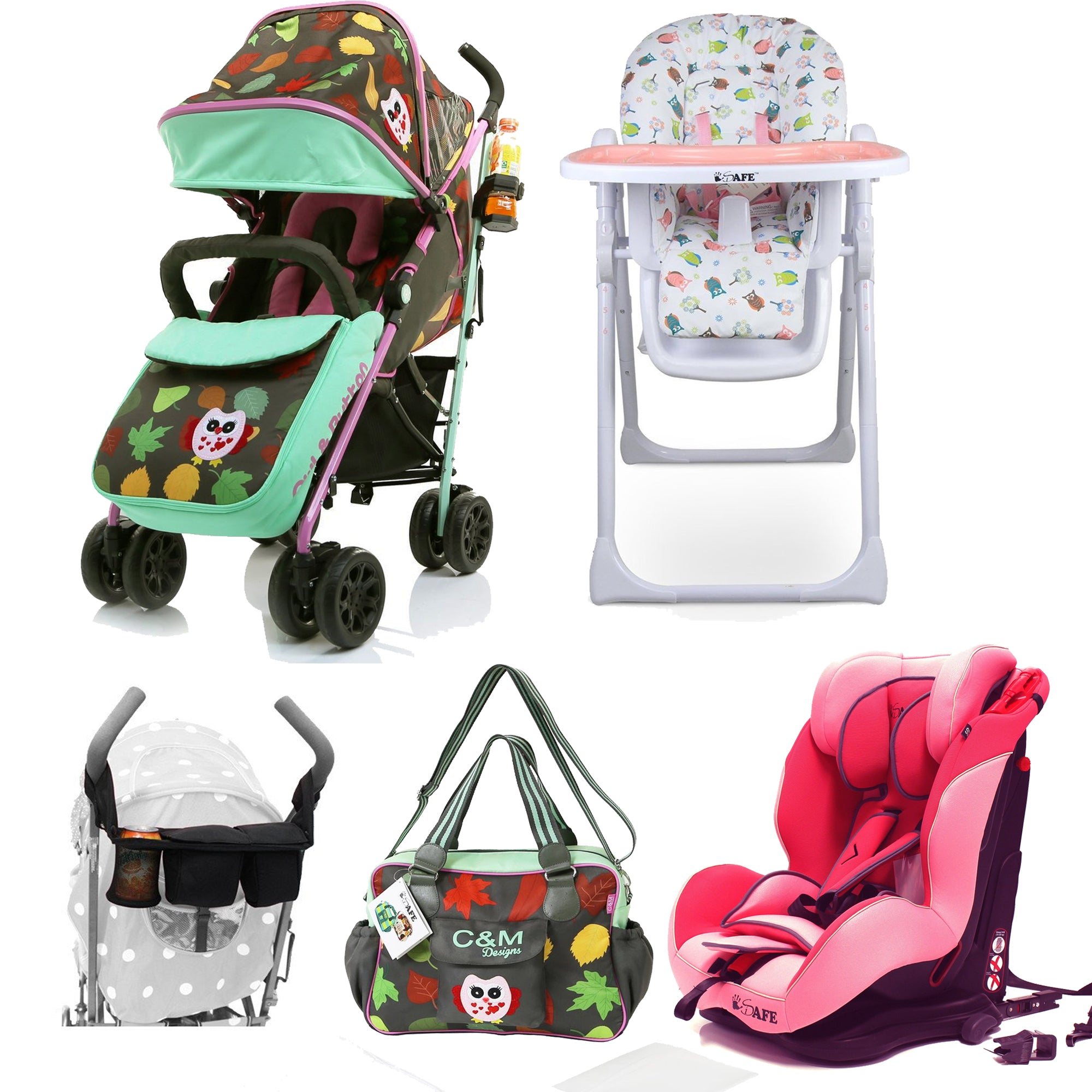 2018 Essential Bundle Package Girls Pink Design Stroller All Stages Car Seat High Chair Accessories