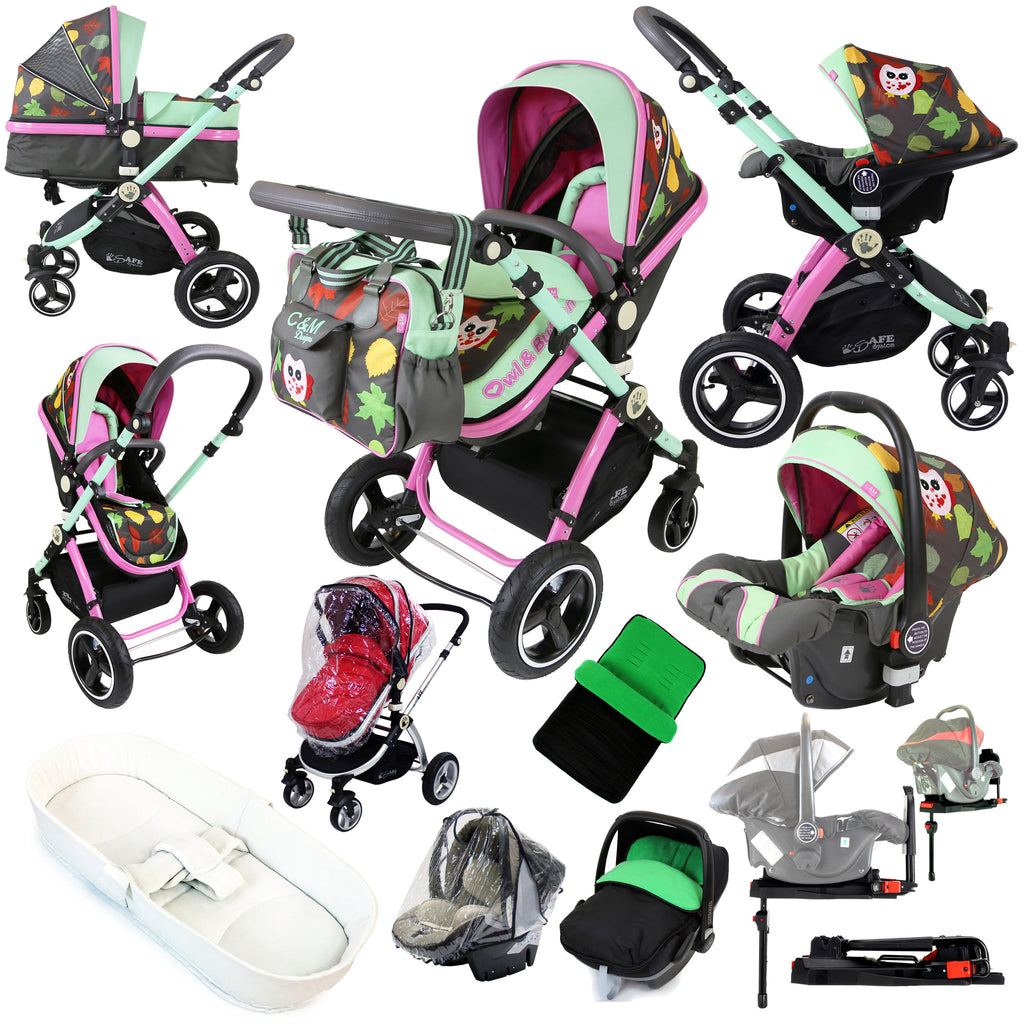 i-Safe System - Owl & Button Trio Travel System Pram & Luxury Stroller 3 in 1 Complete With Car Seat, Base, Bag, Bedding, Rain Covers & Foot Muffs - Baby Travel UK  - 1