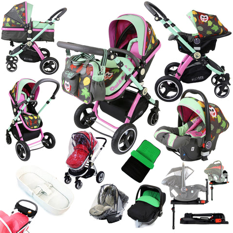 iSafe 3 in1 Owl And Button Trio Travel System 9 Piece Package