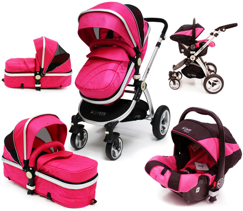 iSafe 3 in 1 - Pink (With Car Seat) Travel System Pram Options