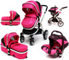 iSafe 3 in 1 - Pink (With Car Seat) Travel System Pram Options - Baby Travel UK  - 1