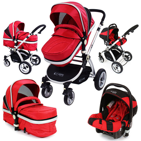 iSafe 3 in 1 Warm Red Travel System Pram Options