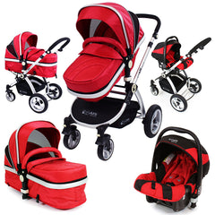 iSafe 3 in 1 - Red (With Car Seat) Travel System Pram Options - Baby Travel UK  - 1