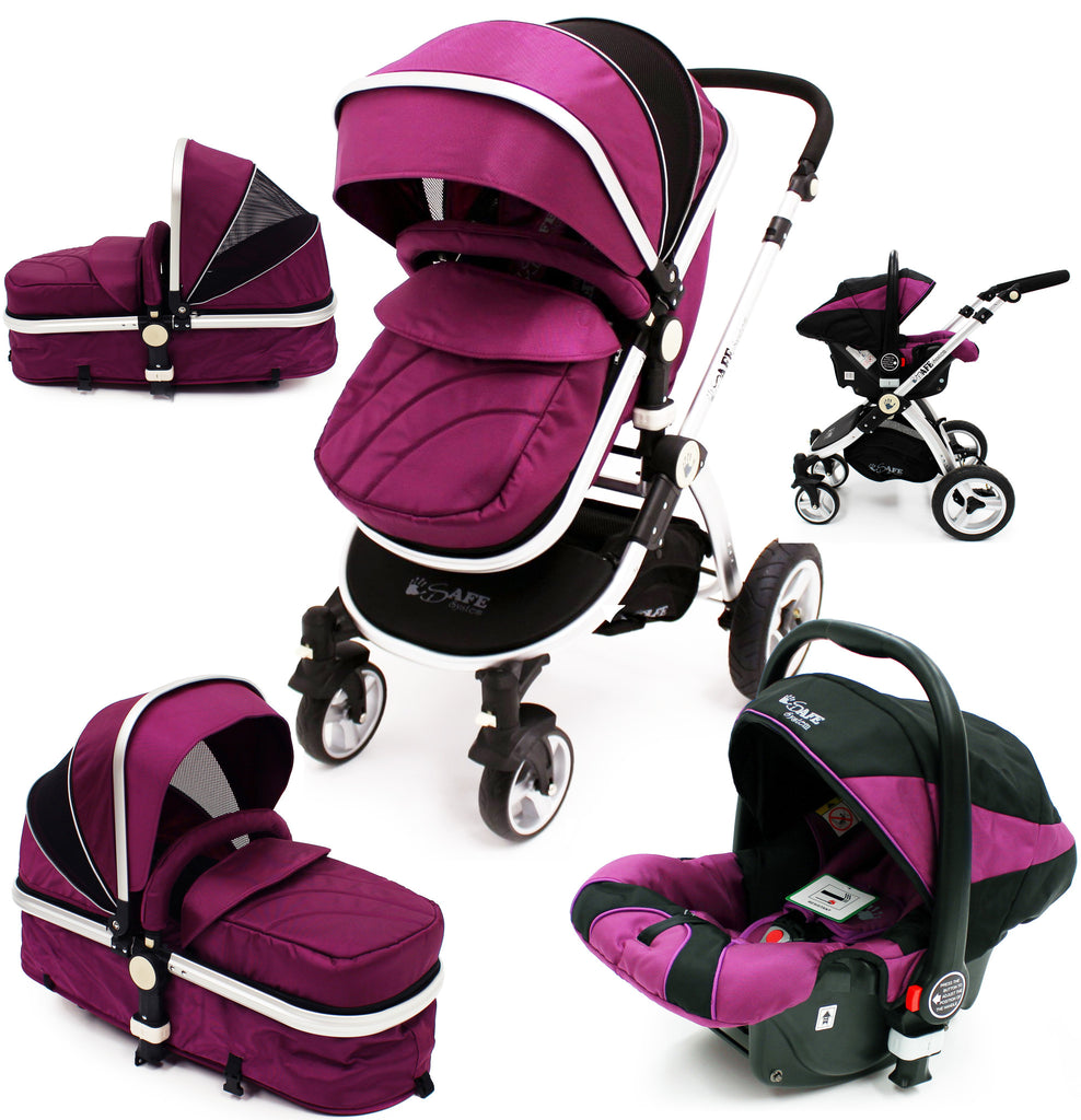 iSafe 3 in 1  Pram System - Plum (Purple) Travel System + Carseat - Baby Travel UK  - 1