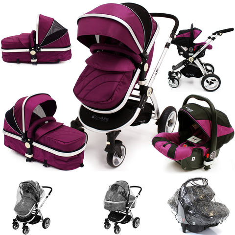 iSafe 3 in 1  Pram Travel  System - Plum (Purple) With Carseat & Raincovers