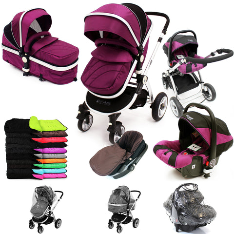 iSafe 3 in 1  Pram System - Plum (Purple) + Carseat + Footmuff & Raincover Package