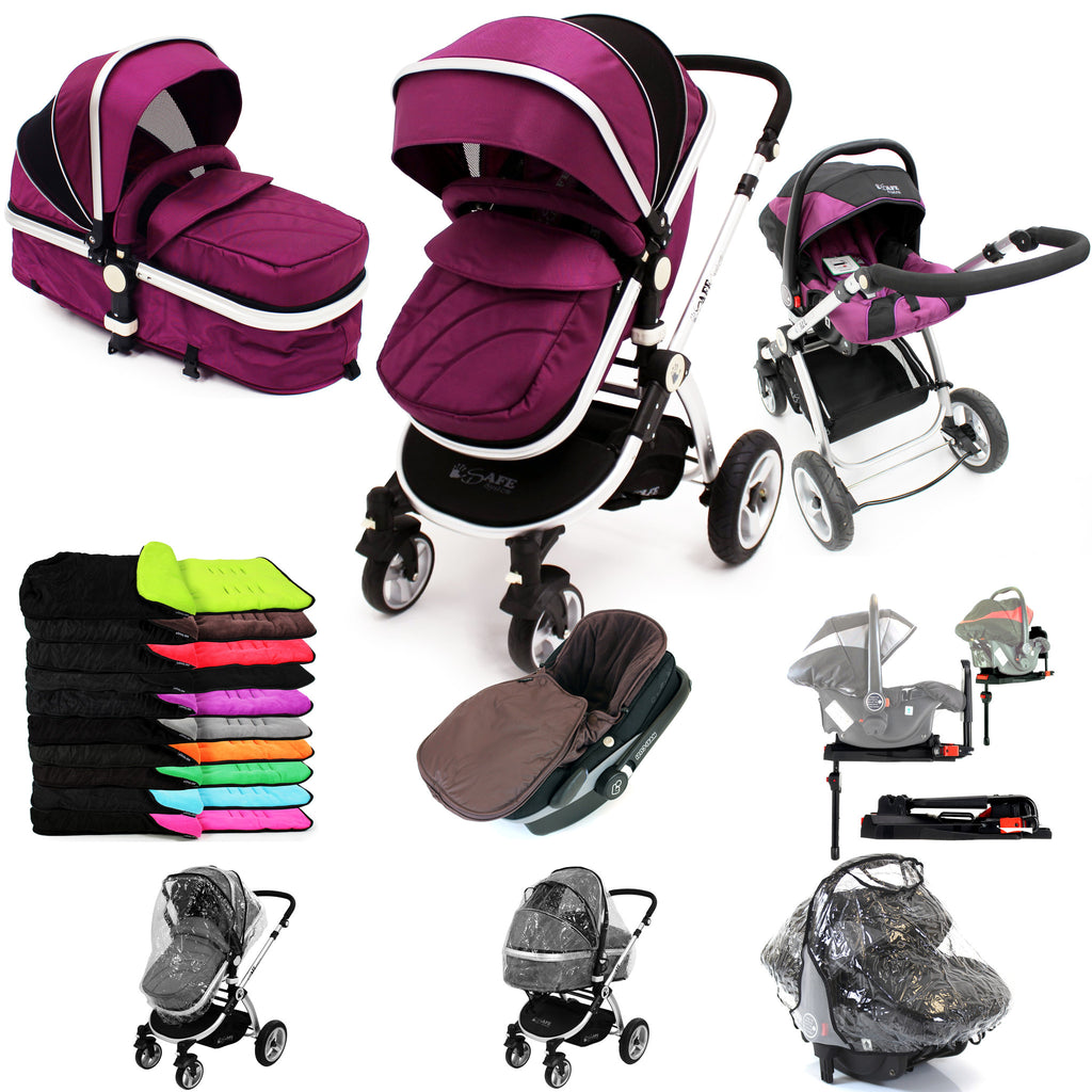iSafe 3 in 1  Pram System - Plum (Purple) + Carseat + Isofix Base + Footmuff & Raincover Package - Baby Travel UK  - 1