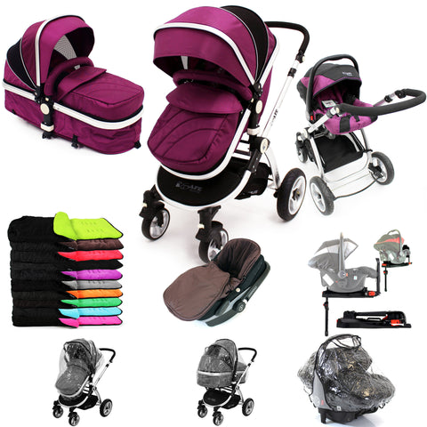 iSafe 3 in 1  Pram System - Plum (Purple) + Carseat + Isofix Base + Footmuff & Raincover Package