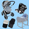 New Born Baby Boy Bundle - 3 in 1 Pram System Grey + Noah Pod + Footmuffs