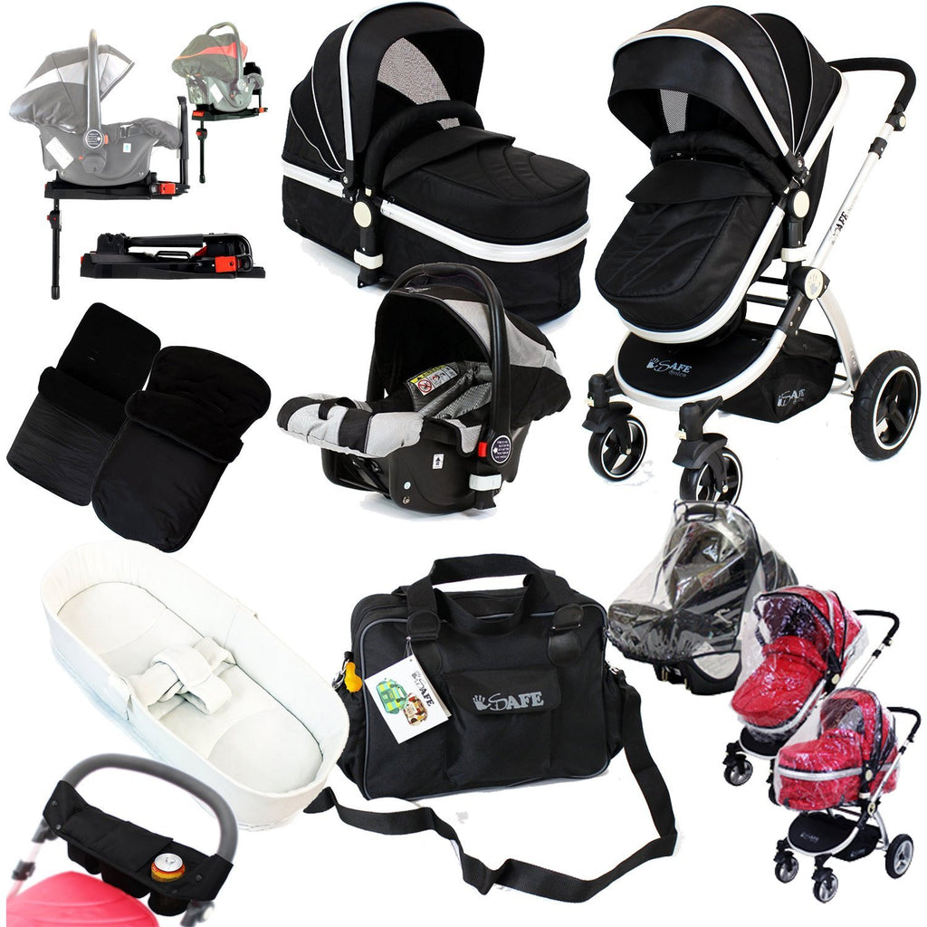 iSafe System - Black Pram Travel System Complete - Baby Travel UK  - 1
