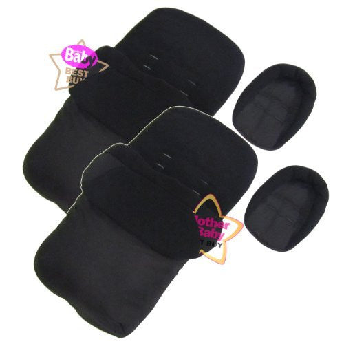 New X2 Luxury Footmuff /& Headhugger Black Fits Baby Jogger Twin Double Stroller