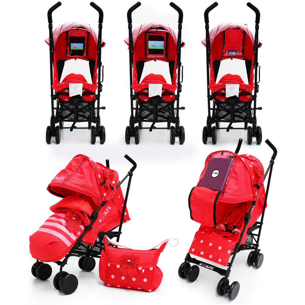 iSafe Media Viewing Bow Dots Stroller Buggy Complete Package - Baby Travel UK  - 1