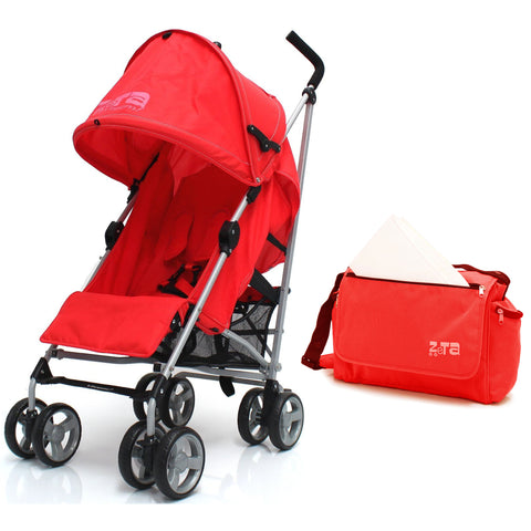 Zeta Vooom Stroller Warm Red + Changing Bag + Rain Cover