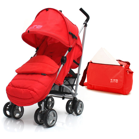 Zeta Vooom Red +Large Padded Footmuff + Changing Bag + Rain Cover
