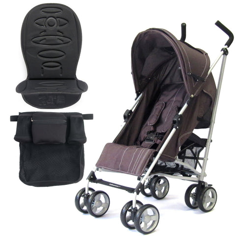 Zeta Vooom Stroller Hot Chocolate + Buggy Organiser + Padded Liner +Raincover Large Shade Hood