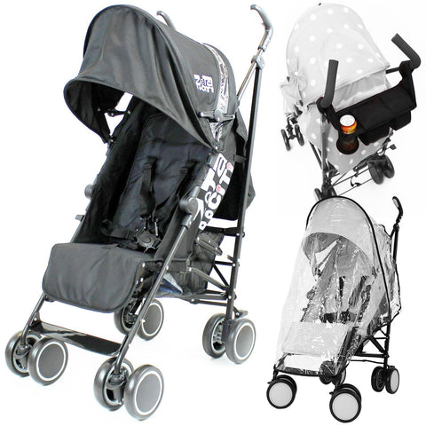 Zeta Citi Stroller Buggy Pushchair - Black (+Raincover+Parent Console)