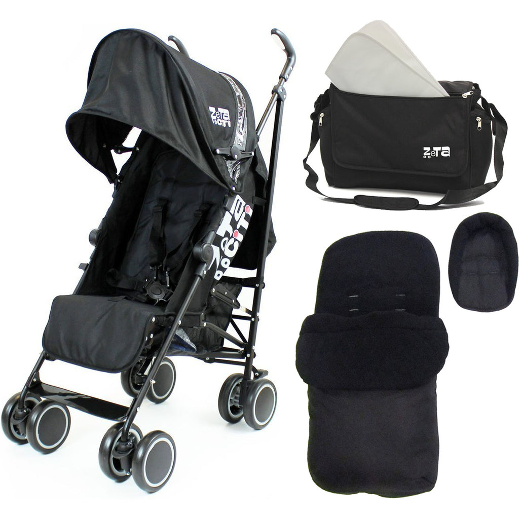 Zeta Citi Stroller BLACK Package - Complete With Rain Cover, Changing Bag & Footmuff
