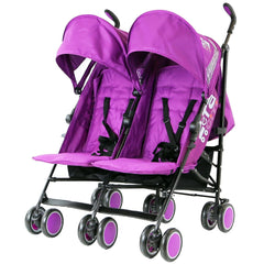 Zeta Citi TWIN Stroller Buggy Pushchair - Plum (Purple) Double Stroller Complete With FootMuffs And Bag - Baby Travel UK  - 4