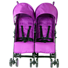 Zeta Citi TWIN Stroller Buggy Pushchair - Plum (Purple) Double Stroller Complete With FootMuffs And Bag - Baby Travel UK  - 5