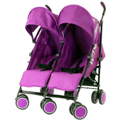 Zeta Citi TWIN Stroller Buggy Pushchair - Plum (Purple) Double Stroller Complete With FootMuffs And Bag - Baby Travel UK  - 6