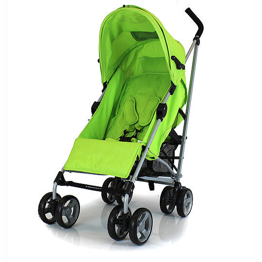 Zeta Vooom Lime Lemon Stroller Silver Frame POP of Hood Cross Harness Pram - Baby Travel UK  - 1