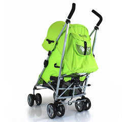 Zeta Vooom Lime Lemon Stroller Silver Frame POP of Hood Cross Harness Pram - Baby Travel UK  - 3