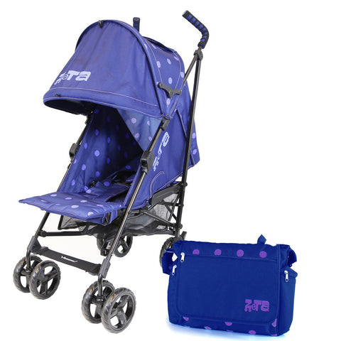 Zeta Vooom Pushchair Stroller  - Navy Dots + Changing Bag
