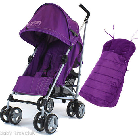 New Zeta Vooom Plum With Mc Large Padded Footmuff Liner Stroller Pushchair