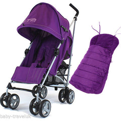 New Zeta Vooom Plum With Mc Large Padded Footmuff Liner Stroller Pushchair - Baby Travel UK  - 1