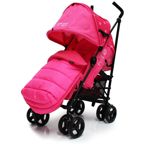 Zeta Vooom Stroller Raspberry dots Rasberry Pink With Large Footmuff