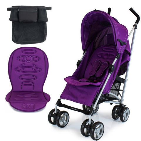 Zeta Vooom Plum + Luxury Stroller Padded Liner + Buggy Organiser + Raincover