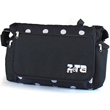 Baby Travel Zeta Changing Bag BLACK DOTS Complete With Changing Matt