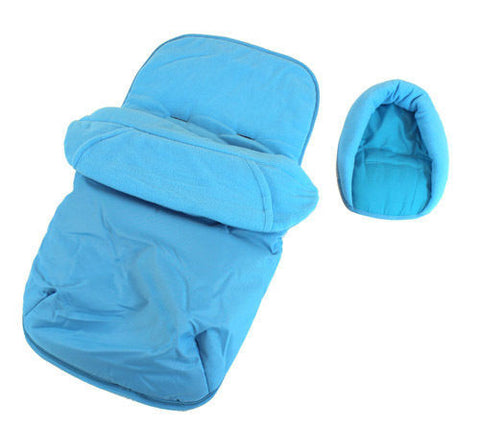 Deluxe 2in1 Ocean Blue Footmuff & Headhugger To Fit Babylo Breeze Stroller