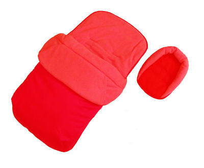 Deluxe 2in1 RED Footmuff & Headhugger To Fit Chicco Echo Pushchair Stroller