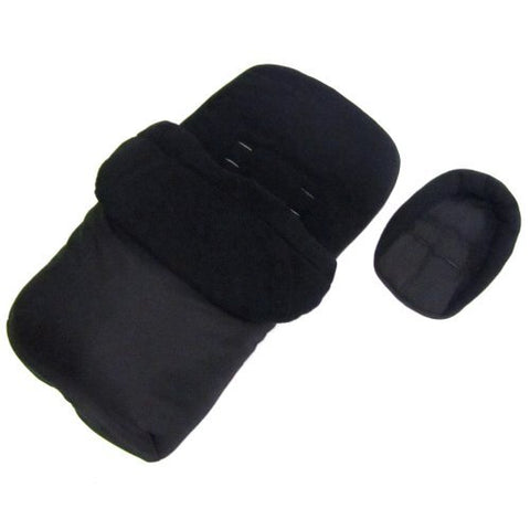 Footmuff Cosytoes & Head Hugger - Black  Fits Silver Cross Pop